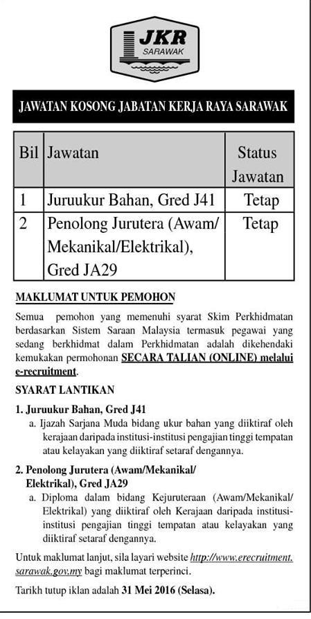 Jawatan Kosong Di Jabatan Kerja Raya Malaysia Jkr Sarawak Jawatan Kosong 2020 Job Vacancies 2020