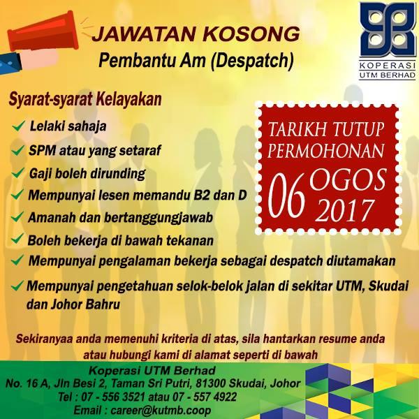Job Vacancies 2017 At Koperasi Utm Berhad Jawatan Kosong 2020 Job Vacancies 2020